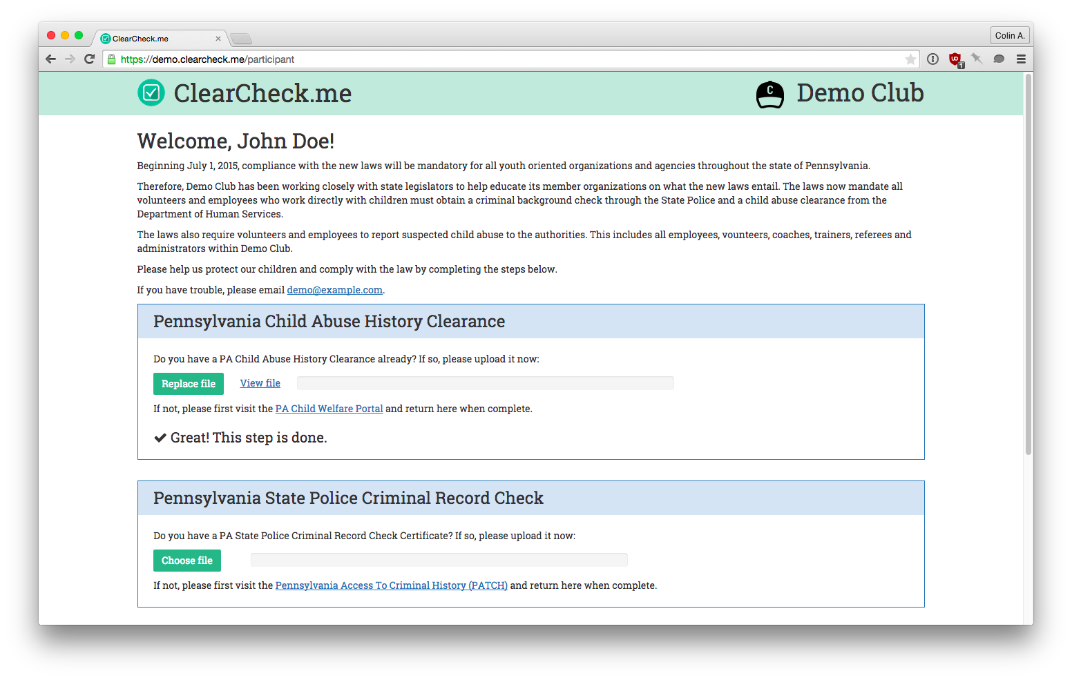 Clear Check - Pennsylvania child abuse history clearance management